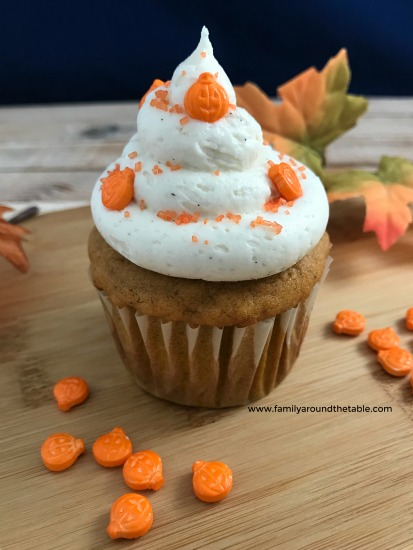 Pumpkin spice cupcakes with vanilla bean buttercream are perfect for a fall dessert table.