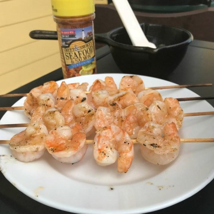 Seasoned Barbecue Butter Shrimp Skewers