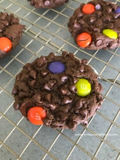 Surprise your family or co-workers with a batch of M and M Chocolate Chip Cookies.