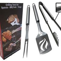 BBQ Grilling Tools Set - Heavy Duty Professional Grade Barbecue Accessories - 3 Piece Utensils Kit Includes Spatula Tongs & Fork - Unique Idea for Dad