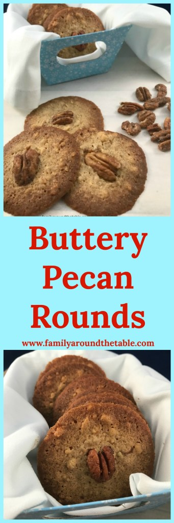 Buttery Pecan Rounds are crispy with a hint of warm cinnamon. #ChristmasCookies