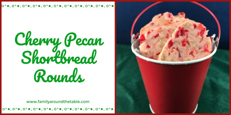 Cherry Pecan Shortbread Rounds are an easy slice and bake cookie, perfect for holiday baking. #ChristmasCookies