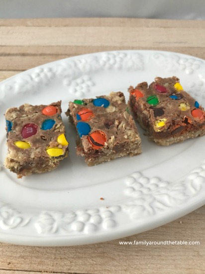 Chocolate Chip M&M Bars on a white plate
