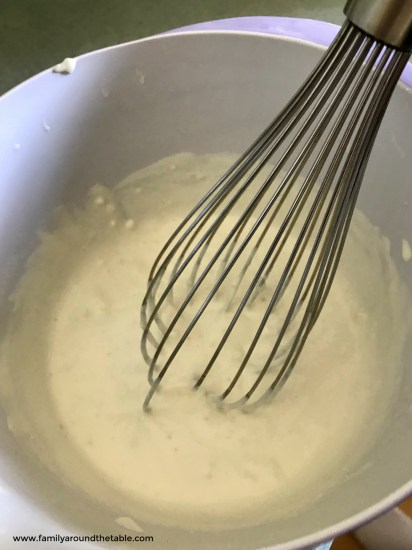 Blue cheese dressing comes together quickly. Just whisk together.
