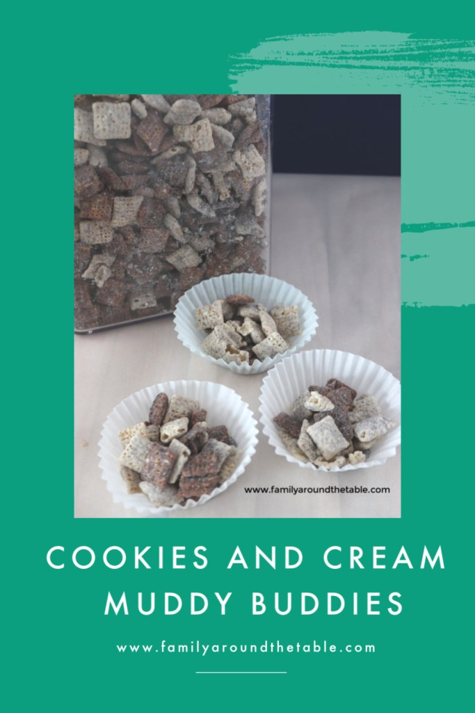 Get the kids to help make cookies and cream muddy buddies for family movie night.