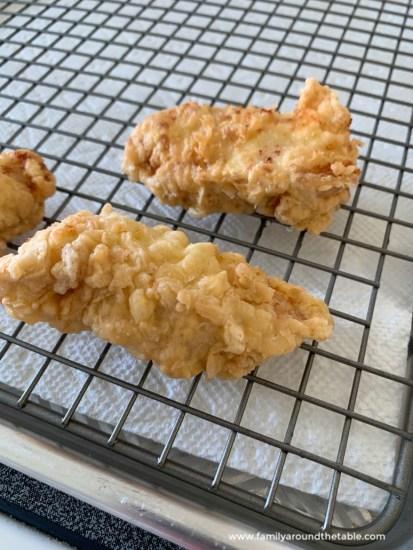 Restaurant quality fried chicken strips.