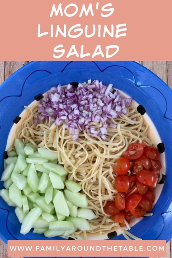 Ingredients for linguine salad in a bowl.
