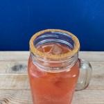 Top view of a Michelada in a glass mug.