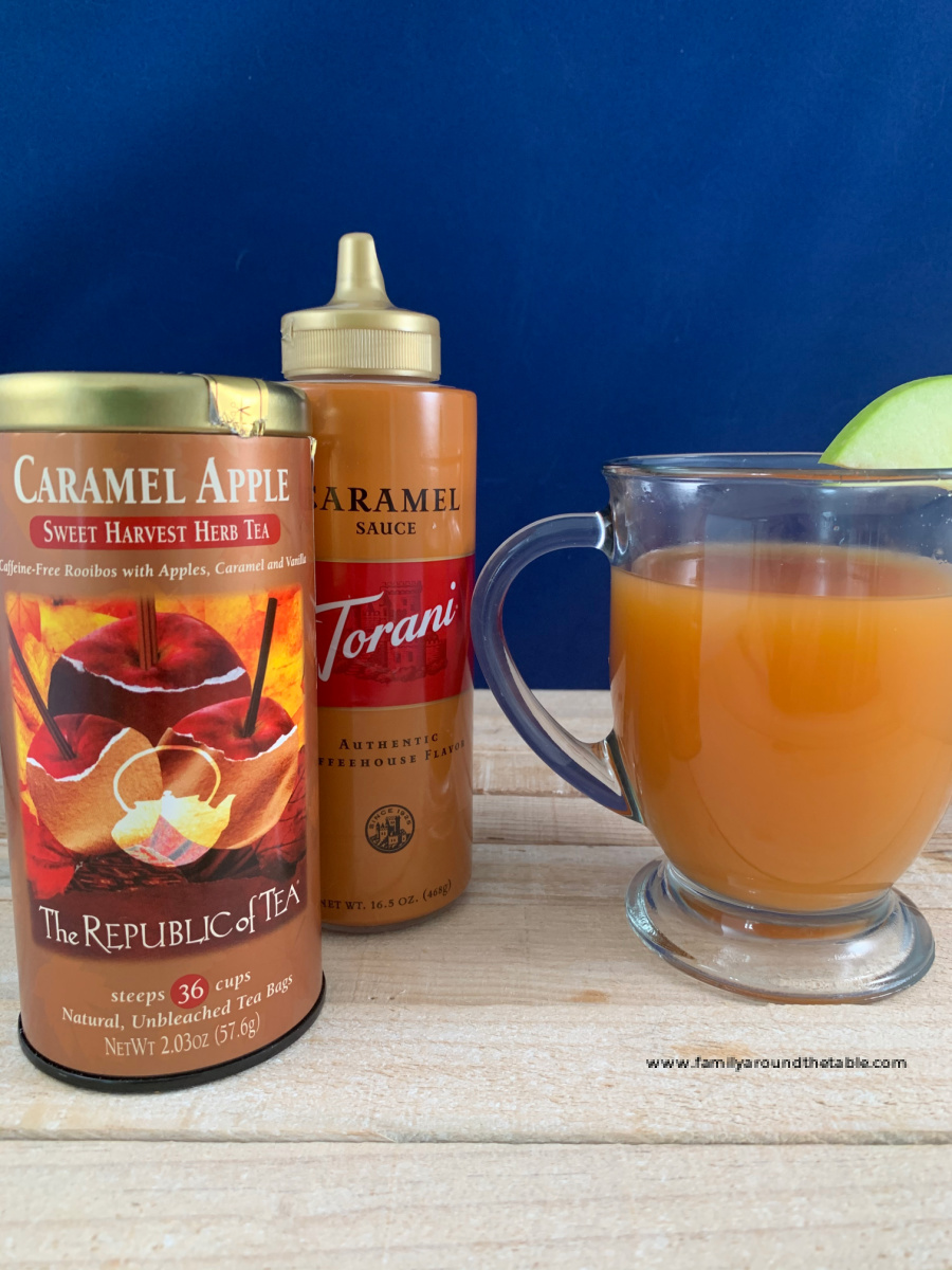 Caramel apple bourbon hot toddy with ingredients.