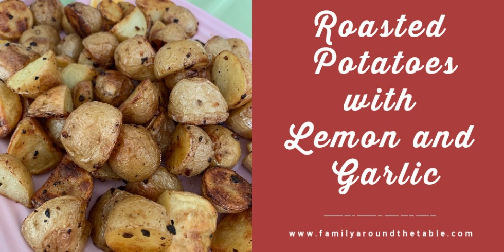 Roasted potatoes with lemon and garlic twitter image.