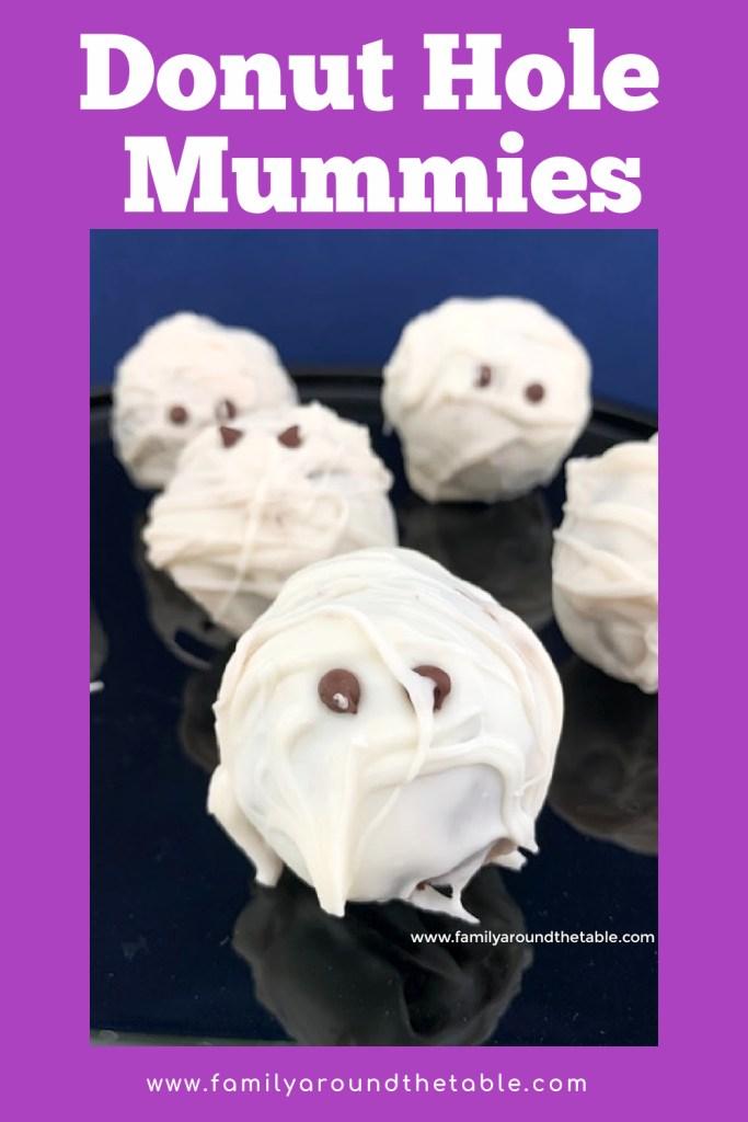 Donut Hole Mummies Pinterest image.