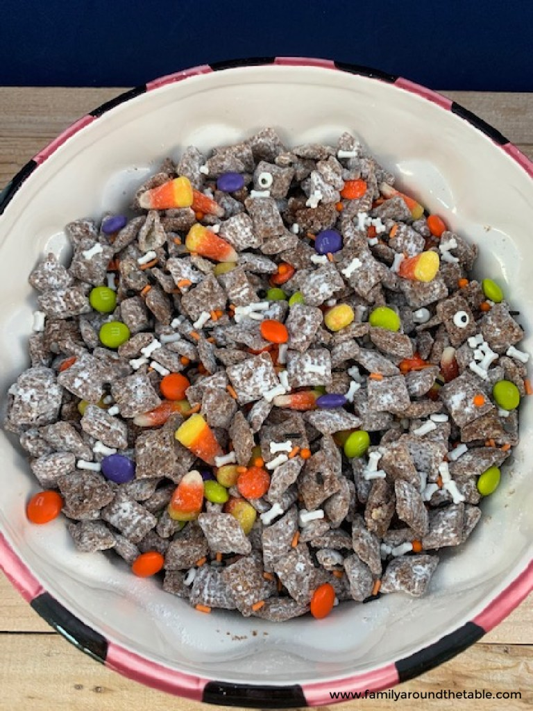 Overhead photo of Halloween Muddy Buddies Mix