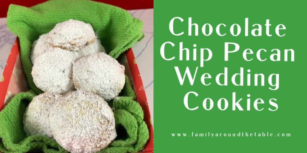Chocolate chip pecan wedding cookies Twitter image.