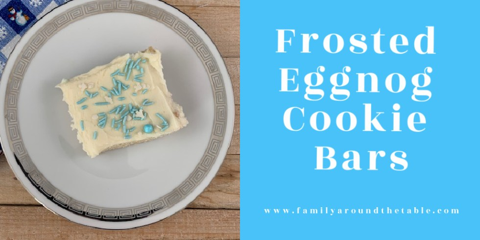 Frosted eggnog cookie bars Twitter image.