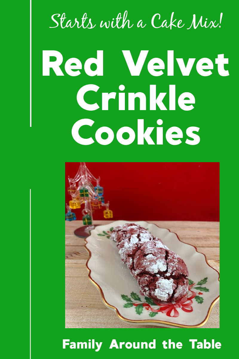 Red velvet crinkle cookies Pinterest image.