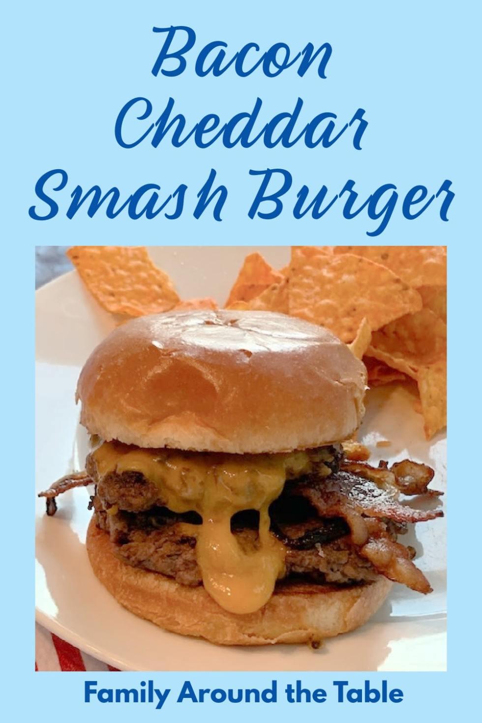 Bacon Cheddar Smash Burger Pinterest Image
