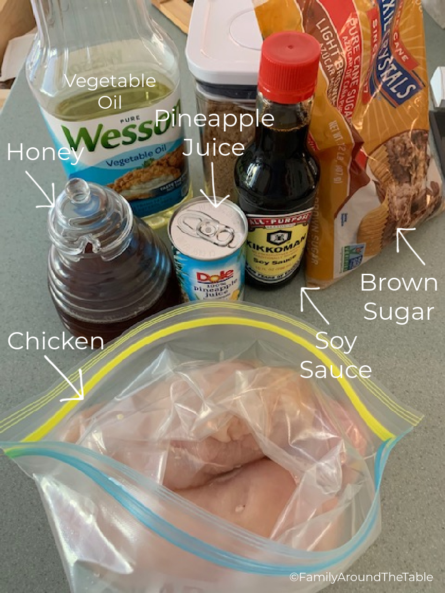 A photo of the ingredients needed for pineapple teriyaki chicken.