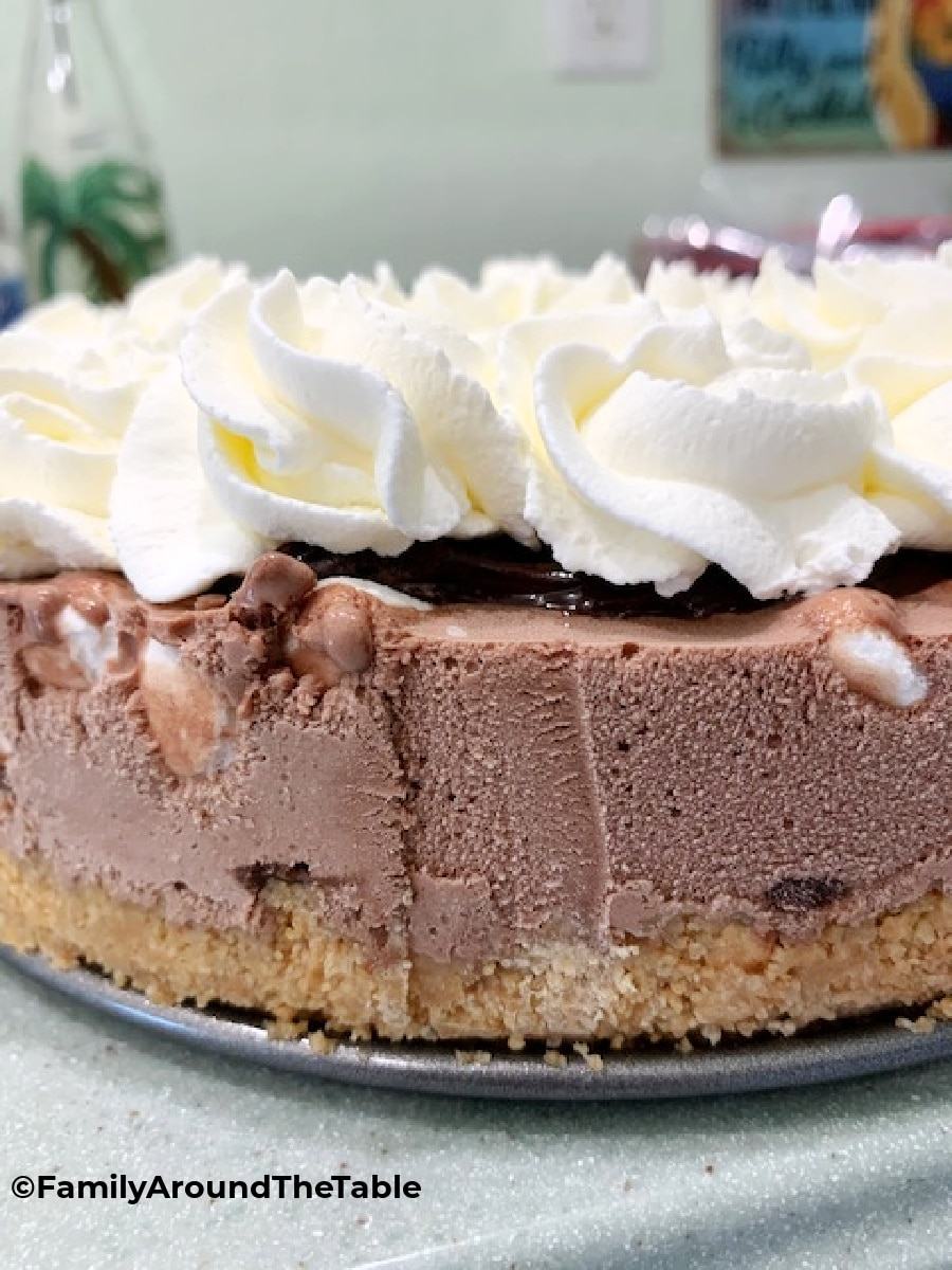 Side view showing the layers of s'mores ice cream torte.