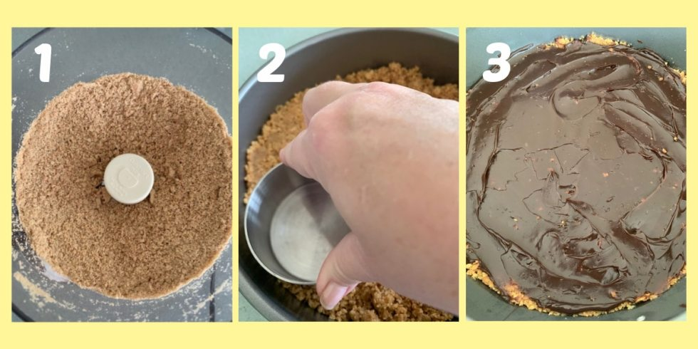 Three photos that show how to make the graham cracker crust.