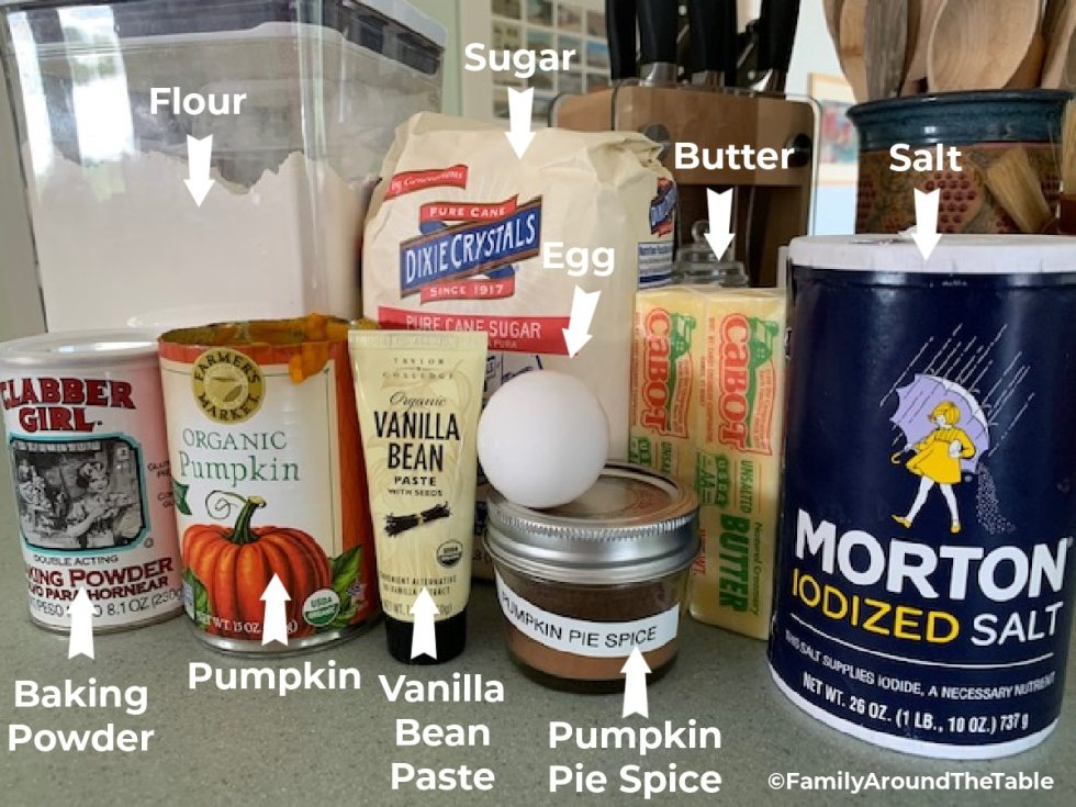 A photo of the ingredients needed for pumpkin snickerdoodles.