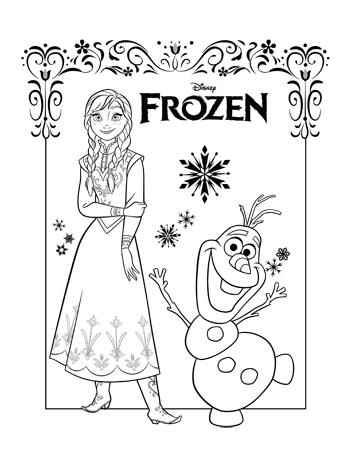 Multi Character 2 Frozen Colouring Pages