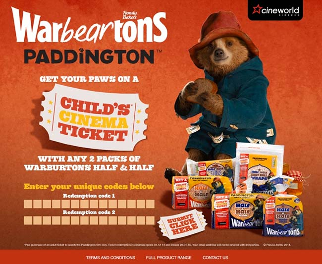 Free Child S Cinema Ticket To Paddington With Warburtons