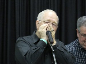 Ray Bennett playing the harmonica during one of the sessions!