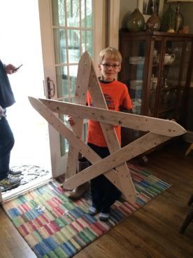 C loved making a picket fence star with his Dad for Greta's Craft Sale to Help the Homeless 2014.