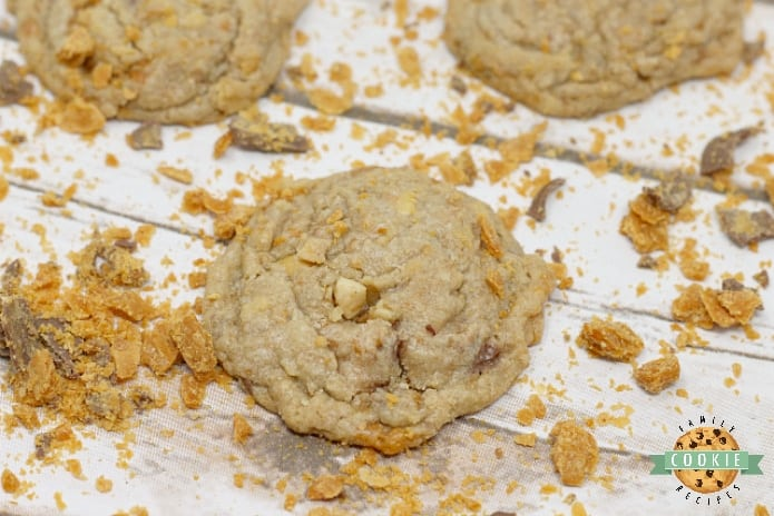 Butterfinger Peanut Butter Cookies are amazingly soft and chewy and full of crunchy peanut butter and chunks of Butterfinger candy bars!