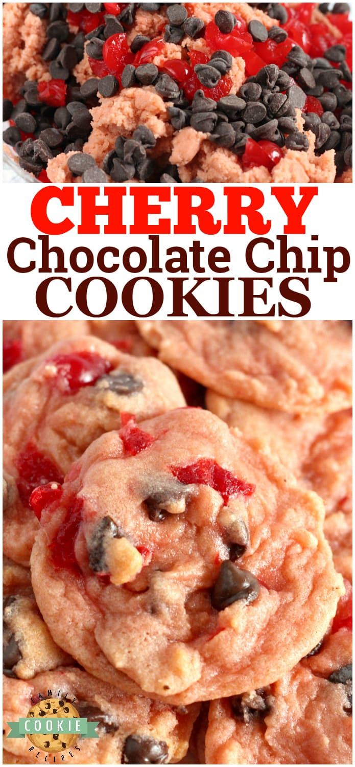 Cherry Chocolate Chip Cookies are soft, chewy and packed with cherry flavor, bits of maraschino cherries and chocolate chips! A fun and flavorful twist on traditional chocolate chip cookies!