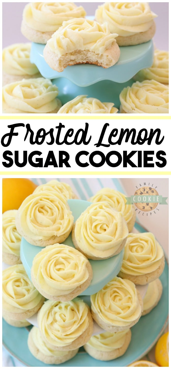 Frosted Lemon Sugar Cookies made by adding fresh lemon juice and zest to a simple sugar cookie dough. No rolling out or chilling necessary! Just bake and top with a bright lemon buttercream frosting. Easy Lemon Cookies piped with a super simple rosette so they taste incredible and they're pretty too! My all-time favorite Sugar Cookie recipe! via @familycookierecipes