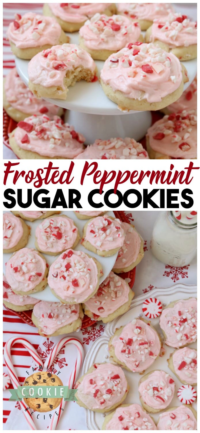 Frosted Peppermint Cookies are soft, pillowy cookies baked with peppermint candy and topped with peppermint vanilla buttercream and candy cane pieces. #peppermint #frosting #cookies #cookie #Christmas #holidays #recipe #cookieexchange #candycanes Recipe from FAMILY COOKIE RECIPES