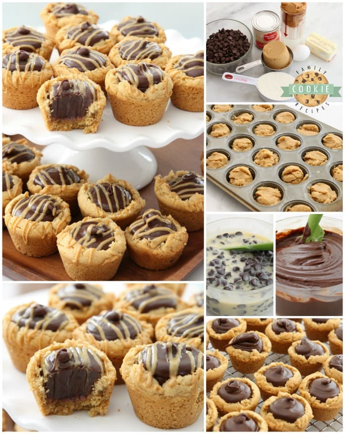 Fudge Peanut Butter Cookie Cups are peanut butter cookies baked in a mini muffin pan and filled with a simple chocolate fudge! Delicious flavor combination in these amazing treats.