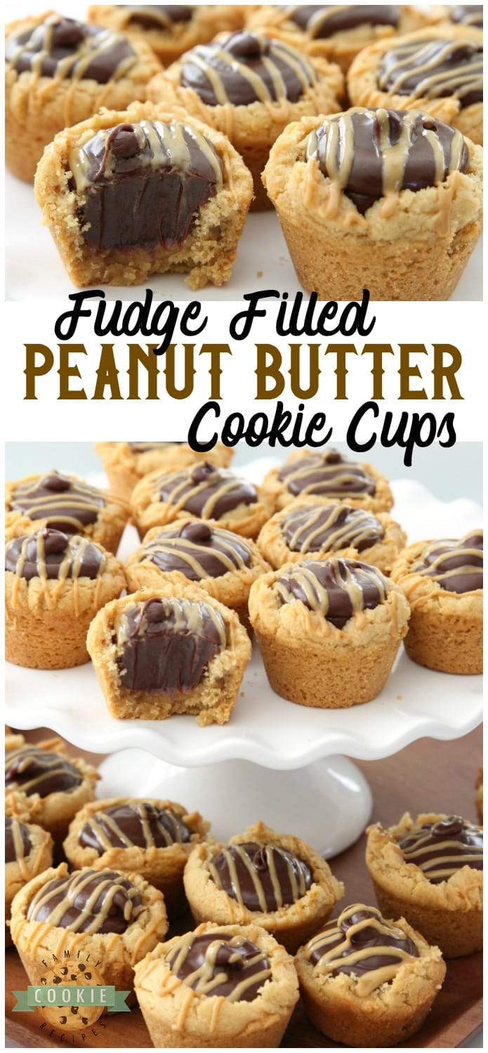 Fudge Peanut Butter Cookie Cups are peanut butter cookies baked in a mini muffin pan and filled with a simple chocolate fudge! Delicious flavor combination in these amazing treats. #peanutbutter #cookies #cookie #recipe #fudge #dessert #chocolate #baking Recipe from FAMILY COOKIE RECIPES