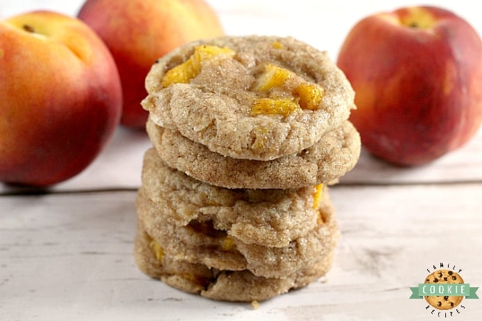Peach Snickerdoodles are soft, chewy, delicious and theaddition of fresh peaches takes your favorite cinnamon sugar cookie up a couple notches!