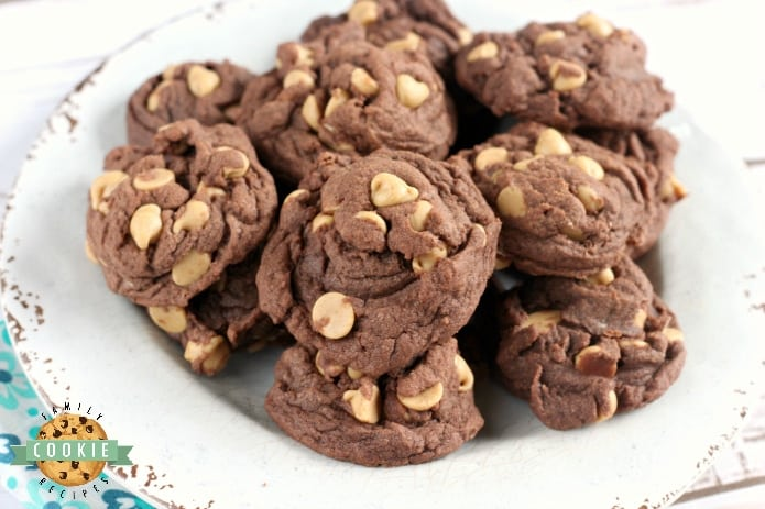 These Peanut Butter Chip Chocolate Cookies are made with chocolate pudding for a soft, chewy cookie that is completely loaded with chocolate flavor and peanut butter chips.