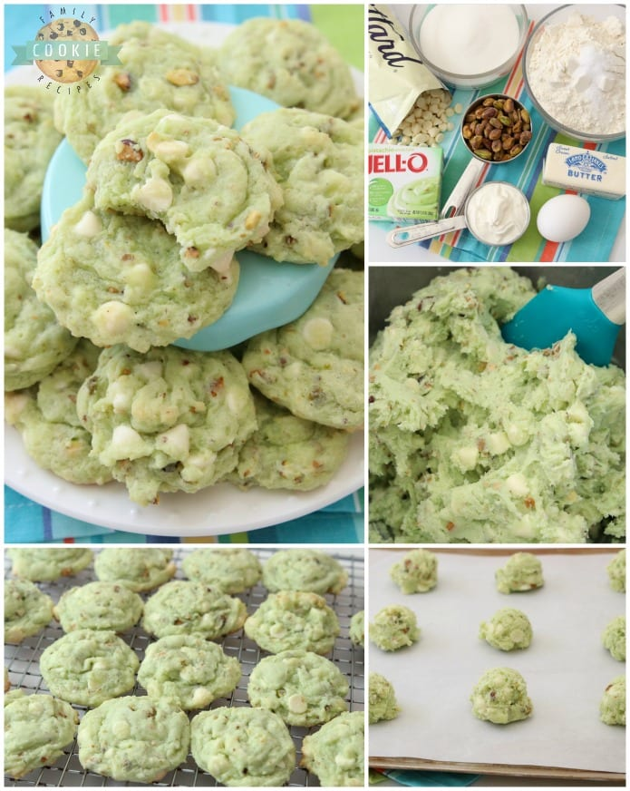Pistachio Pudding Cookies are made by adding pistachio pudding mix to a buttery, homemade cookie dough and then adding white chocolate chips and plenty of chopped pistachios! Soft, sweet pistachio flavored pudding cookies with amazing flavor and texture.