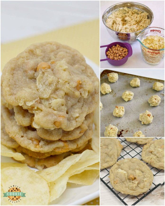 Step-by-step instructions on how to make Potato Chip Cookies with butterscotch chips and crushed up potato chips!