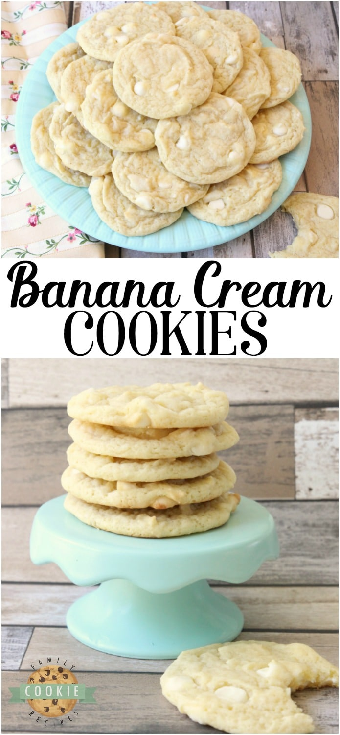Banana Pudding Cookies are a classic banana cookie recipe with a twist! They have a great soft, chewy texture that comes from banana pudding mix as well as an entire banana in the dough. Banana cream pie lovers- you've got to try these banana cookies! #banana #cookies #baking #dessert #cookie #pudding #Recipe from FAMILY COOKIE RECIPES