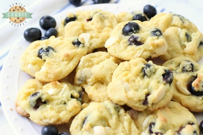 Blueberry Cream Cookies made with fresh blueberries folded into a lovely vanilla pudding cookie dough. Soft pudding cookie recipe with lovely bright, fresh flavor from fresh blueberries and white chocolate chips.