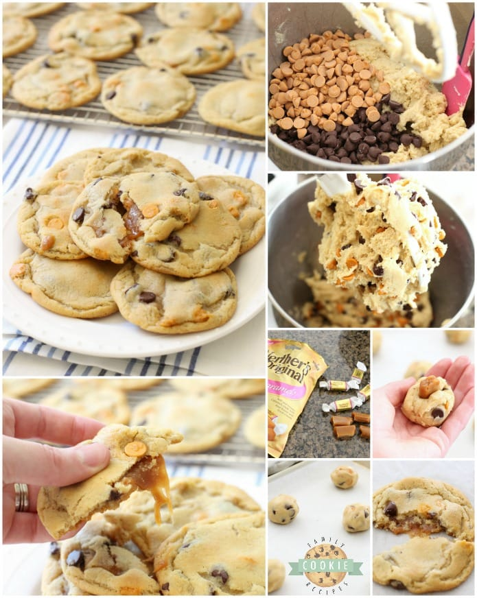 Caramel Chocolate Chip Cookies start with our BEST EVER chocolate chip cookies, then stuffed with soft, sweet caramel & baked until golden brown. Everything you love about traditional chocolate chip cookies with soft, gooey caramel inside!