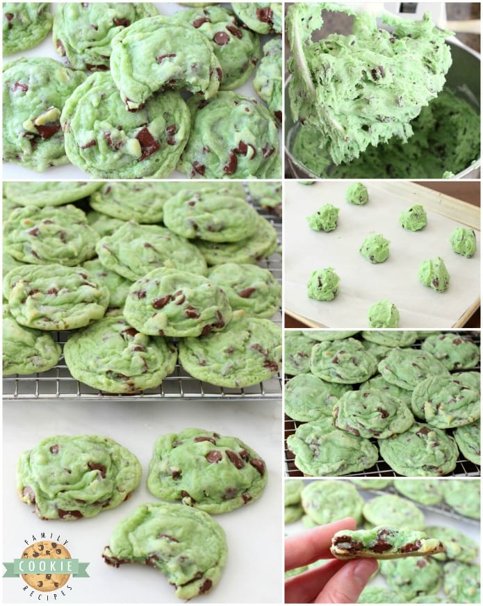 Mint Chocolate Chip Cookies made by adding mint extract & chocolate chips to a delicious pudding cookie dough. This chocolate chip cookie recipe is perfect for those who love mint chip ice cream. Our Mint Chocolate Chip Cookies are great for holiday baking!