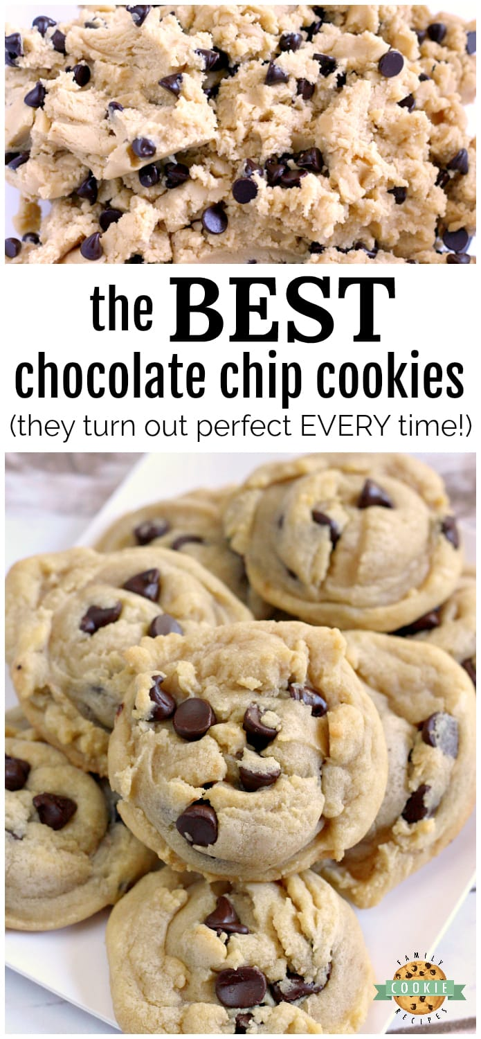 The best Chocolate Chip Cookies are soft, chewy and easy to make too! After trying dozens of different chocolate chip cookie recipes, I decided that I like this one the best! via @familycookierecipes