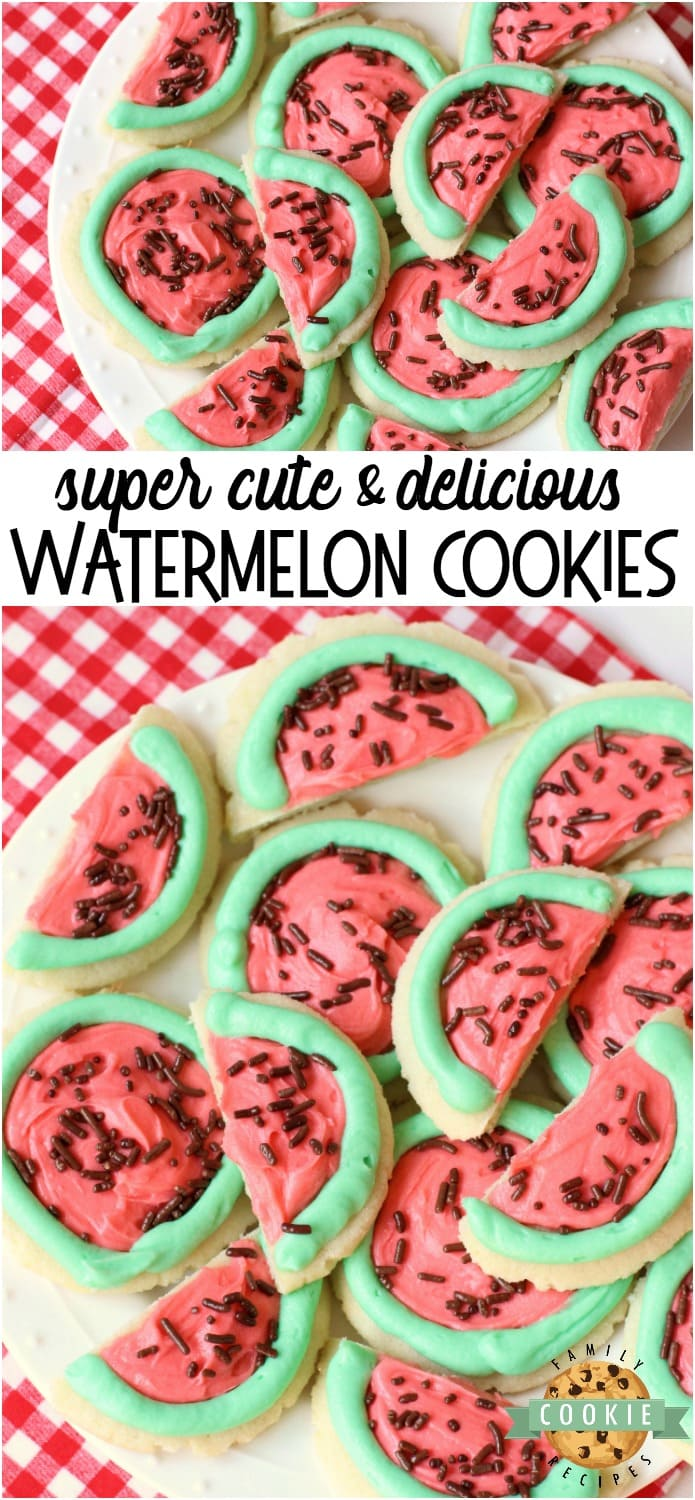 Watermelon Sugar Cookies made easy with sugar cookies, my favorite buttercream frosting and chocolate sprinkles. Perfect for summertime picnics when you can't get enough of watermelon in any form!#watermelon #cookies #sugarcookies #frosting #summer #recipe from FAMILY COOKIE RECIPES