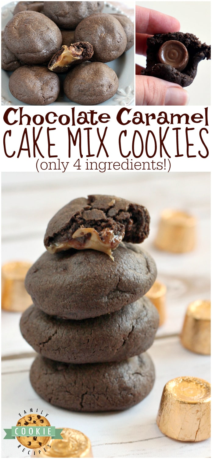 Chocolate Caramel Cake Mix Cookies are made with only 4 ingredients - one of which is the Rolo tucked in the middle! So easy to make and they are absolutely delicious with the gooey caramel centers! via @familycookierecipes