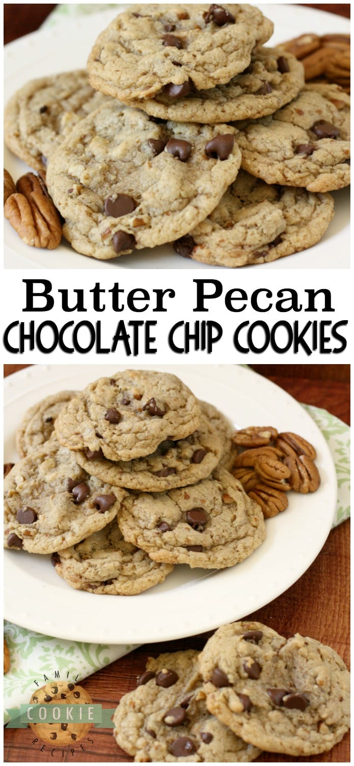 Butter Pecan Chocolate Chip Cookies are all the goodness of a traditional chocolate chip cookie recipe with the indulgent addition of toasted brown sugar butter pecans! #chocolatechip #cookies #butter #pecan #butterpecan #fall #baking #dessert #cookie #recipe from FAMILY COOKIE RECIPES