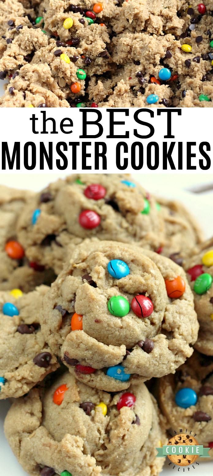 Monster Cookies are made with peanut butter, chocolate chips, M&Ms and oatmeal! All of your favorite cookie flavors combined in one delicious cookie! via @familycookierecipes