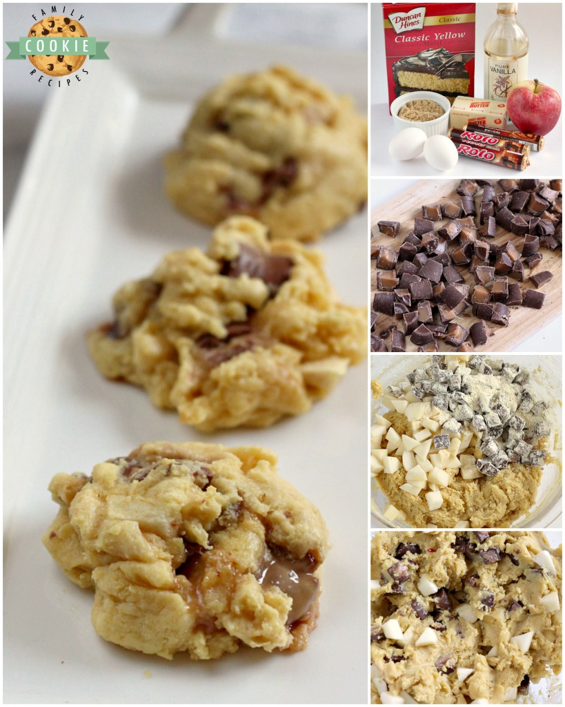 Caramel Apple Cake Mix Cookies are easily made with a cake mix, chopped apples and Rolo candies for a delicious flavor combination that comes together in just a few minutes. Cake mix cookies are so simple to make and these ones have the delicious taste of caramel apples!