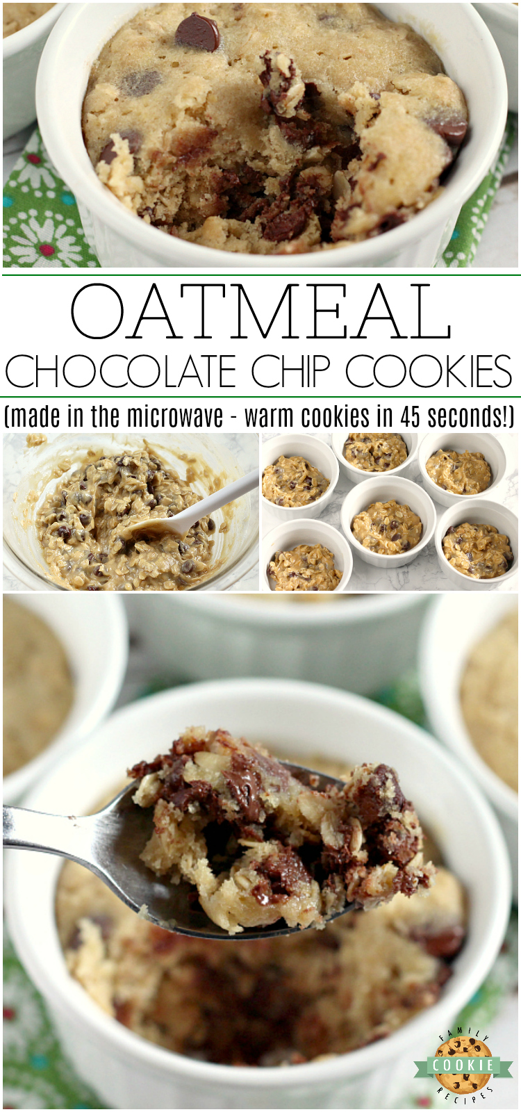 Oatmeal Chocolate Chip Cookies that are ready in less than 5 minutes! This basic oatmeal chocolate chip cookie recipe makes six soft and chewy mug cookies in the microwave - no oven required!