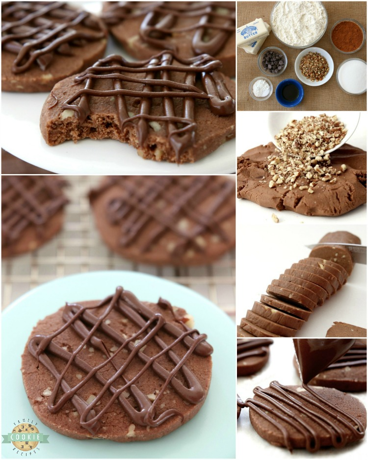 Chocolate Pecan Shortbread Cookies made by adding chopped pecans to our buttery chocolate shortbread then drizzling them with melted chocolate. These incredible shortbread cookies melt in your mouth and have the best chocolate flavor!